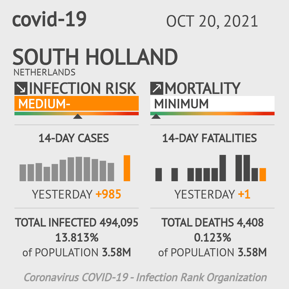 South Holland Coronavirus Covid-19 Risk of Infection on March 02, 2021
