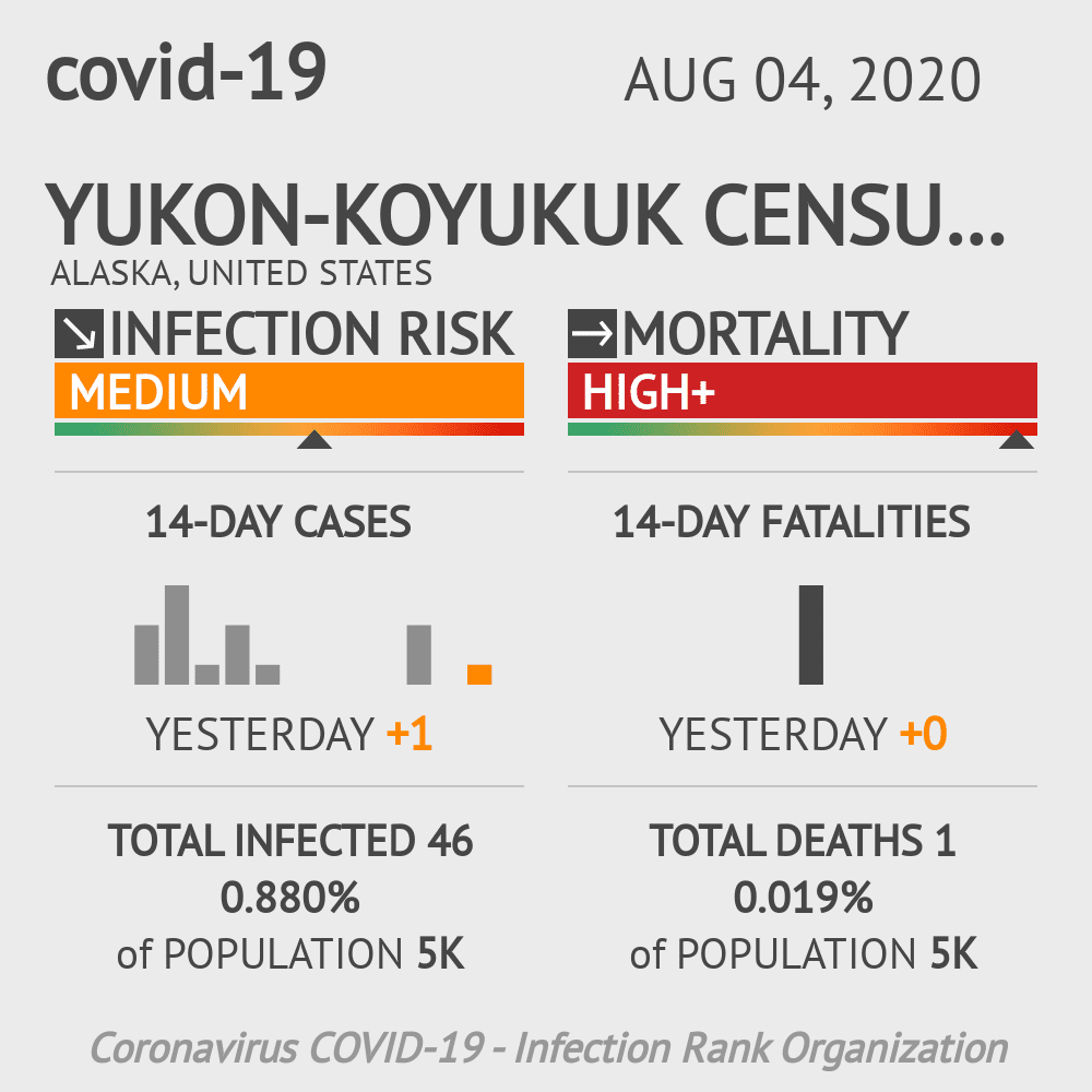 Yukon-Koyukuk Census Area Coronavirus Covid-19 Risk of Infection on August 04, 2020