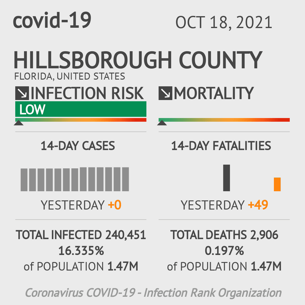 Hillsborough County Coronavirus Covid-19 Risk of Infection on November 24, 2020