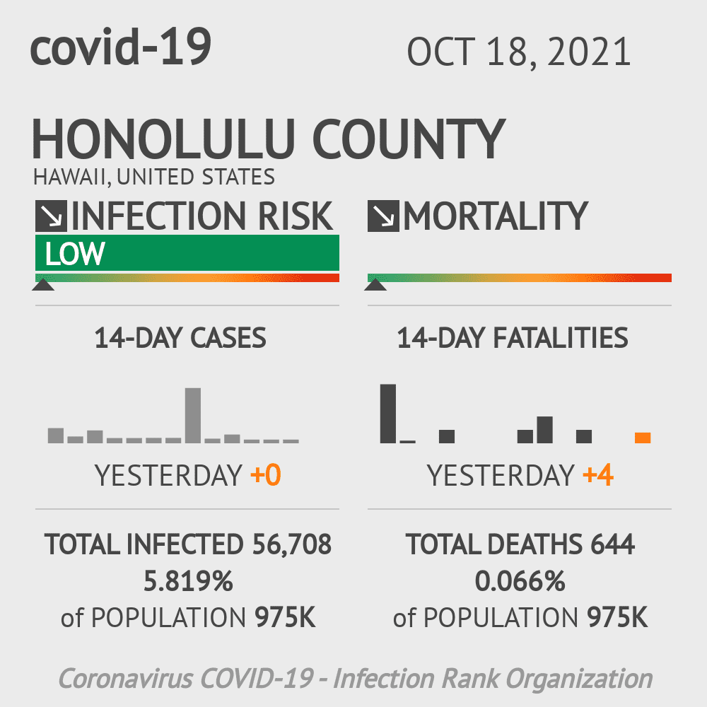 Honolulu County Coronavirus Covid-19 Risk of Infection on July 24, 2021
