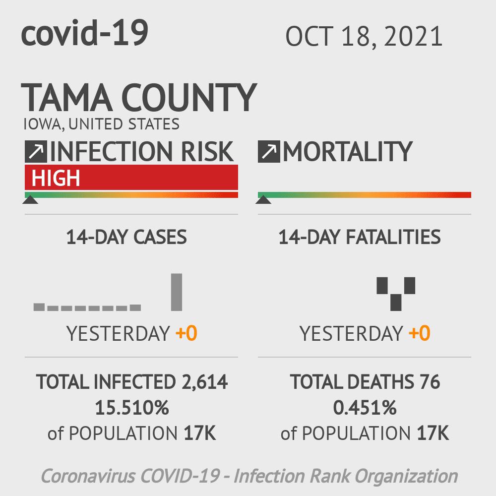 Tama County Coronavirus Covid-19 Risk of Infection on July 24, 2021