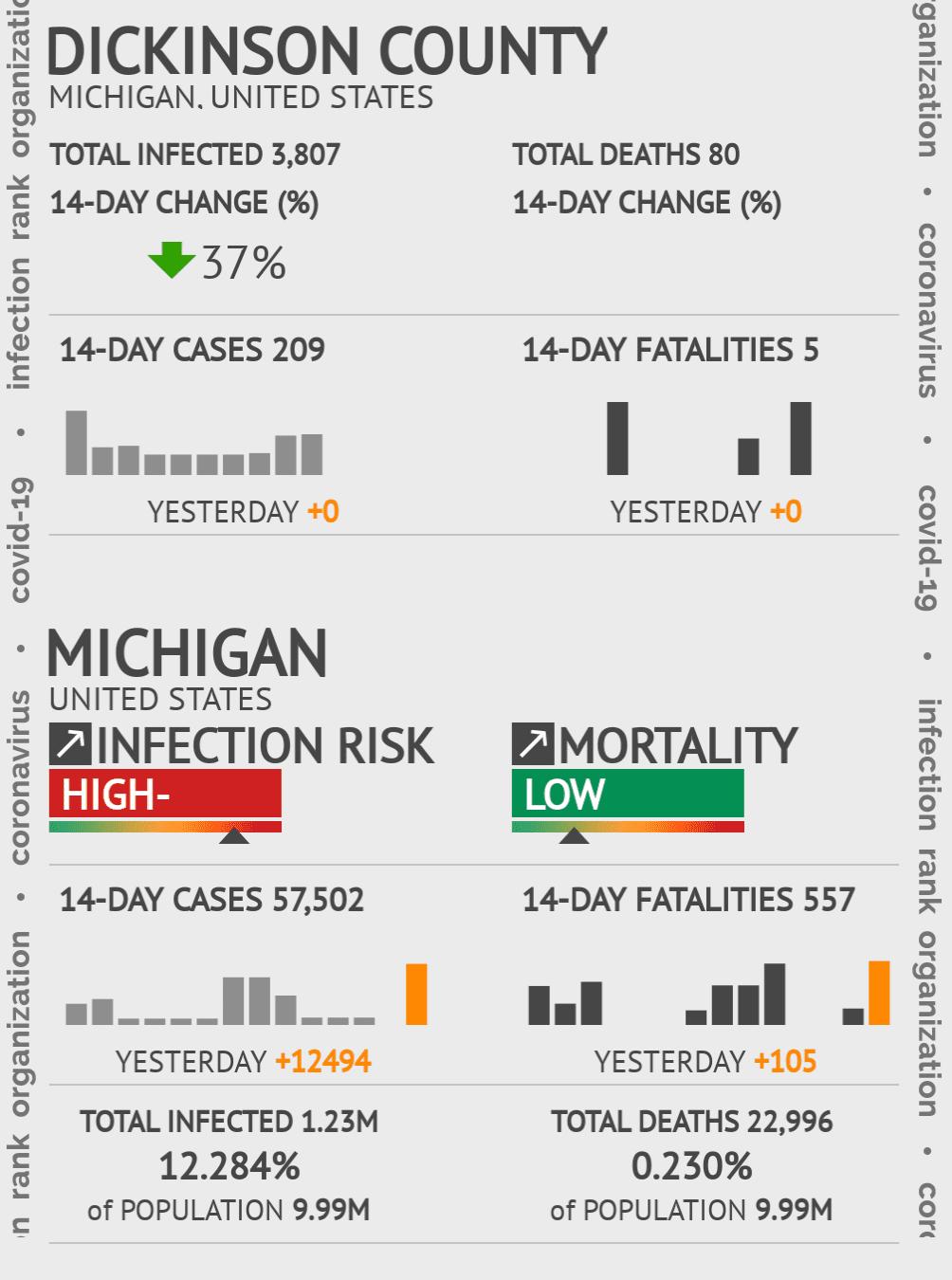 Dickinson County Coronavirus Covid-19 Risk of Infection on February 24, 2021