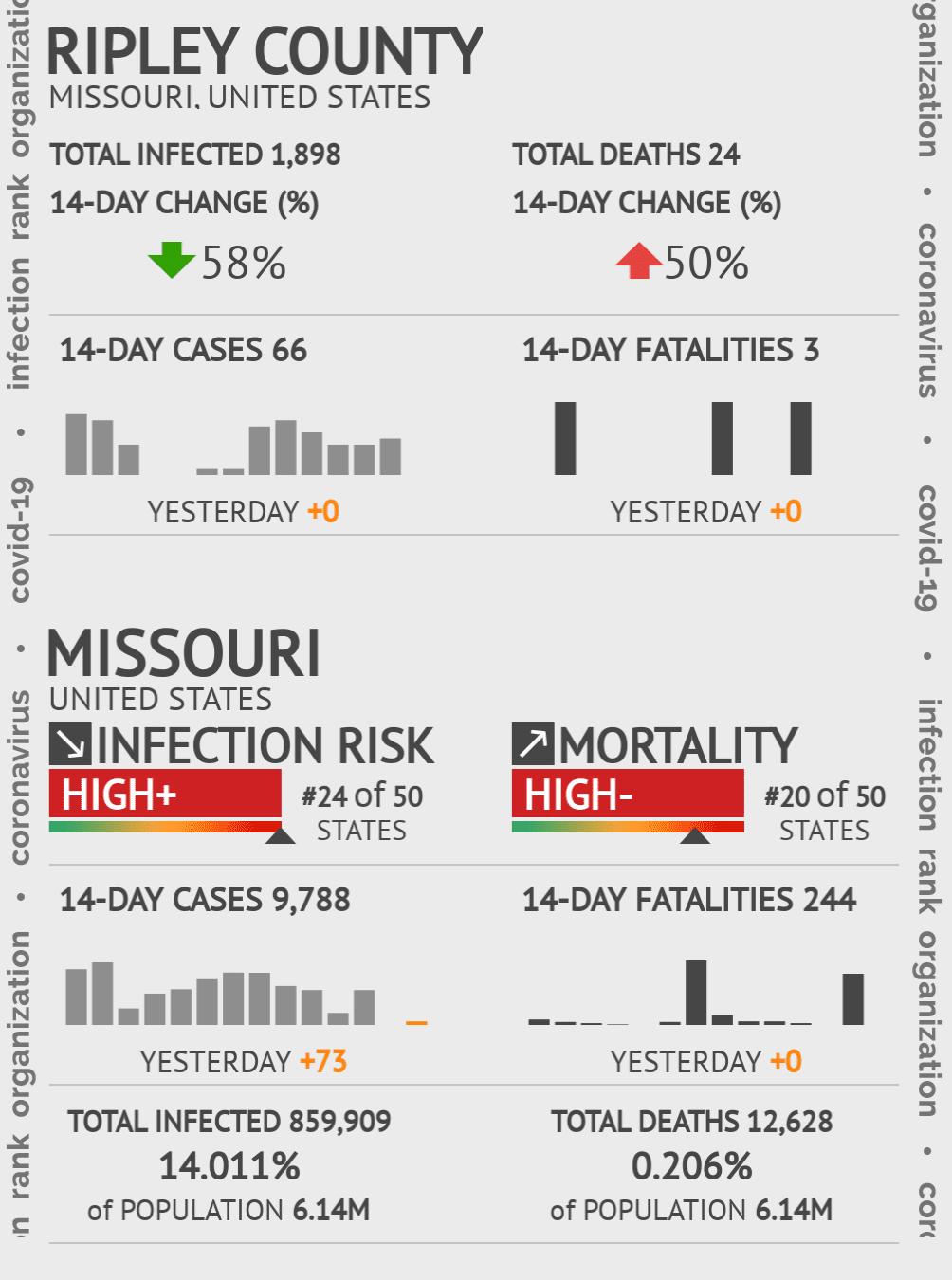 Ripley County Coronavirus Covid-19 Risk of Infection on July 24, 2021