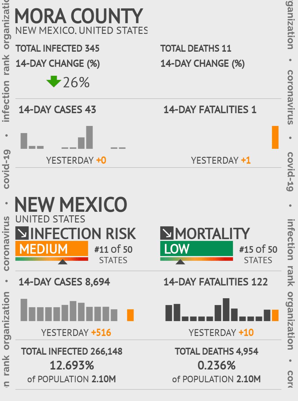 Mora County Coronavirus Covid-19 Risk of Infection on July 24, 2021