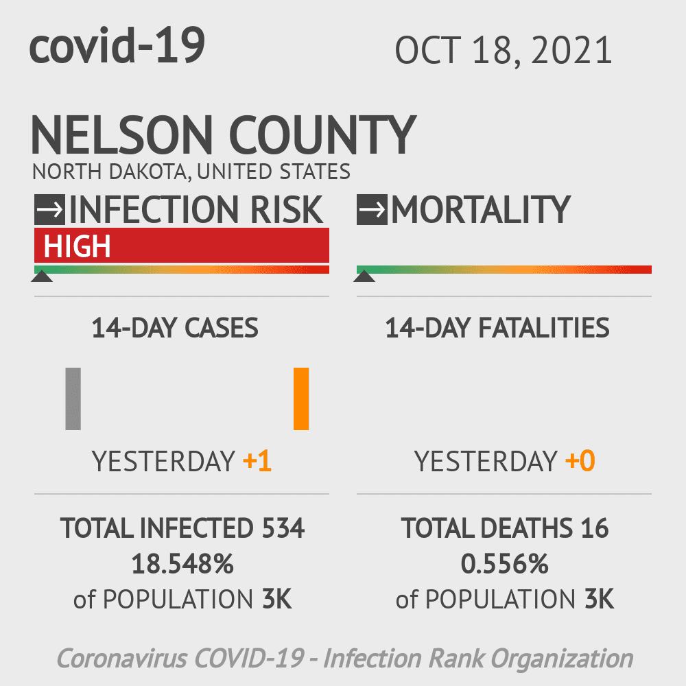 Nelson County Coronavirus Covid-19 Risk of Infection on March 23, 2021