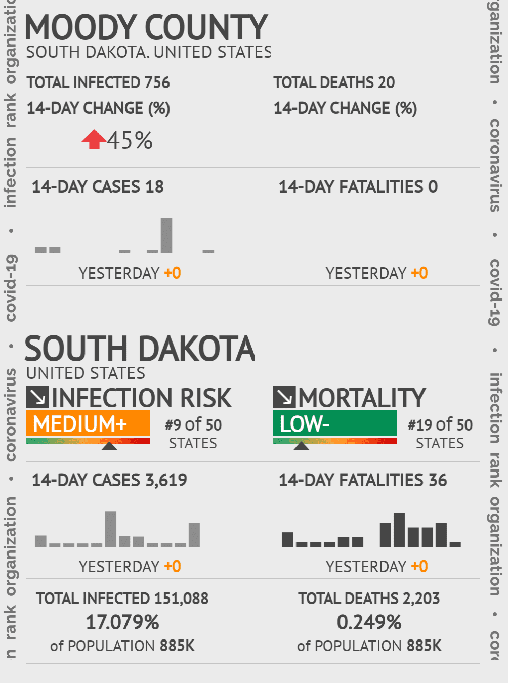 Moody County Coronavirus Covid-19 Risk of Infection on July 24, 2021