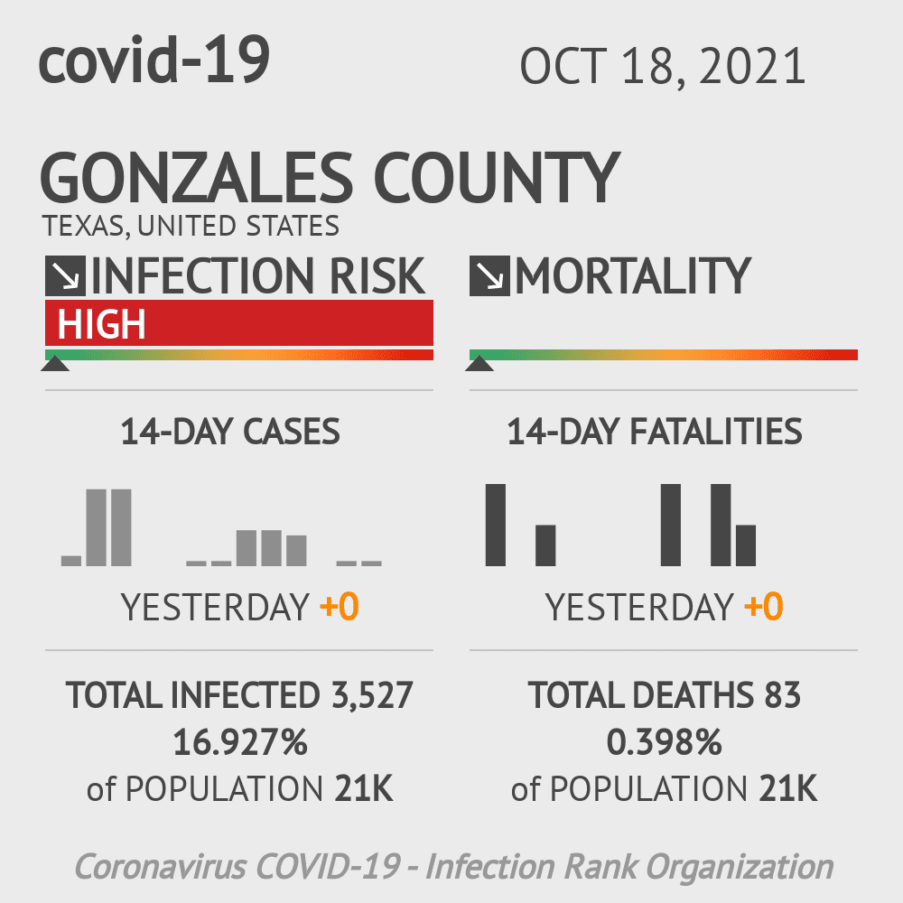 Gonzales County Coronavirus Covid-19 Risk of Infection on November 26, 2020
