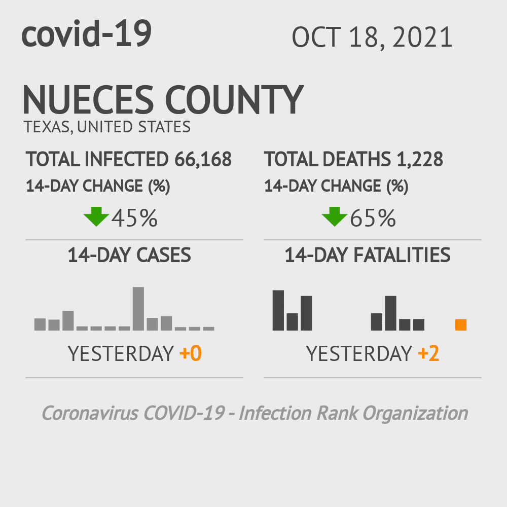 Nueces County Coronavirus Covid-19 Risk of Infection on February 28, 2021
