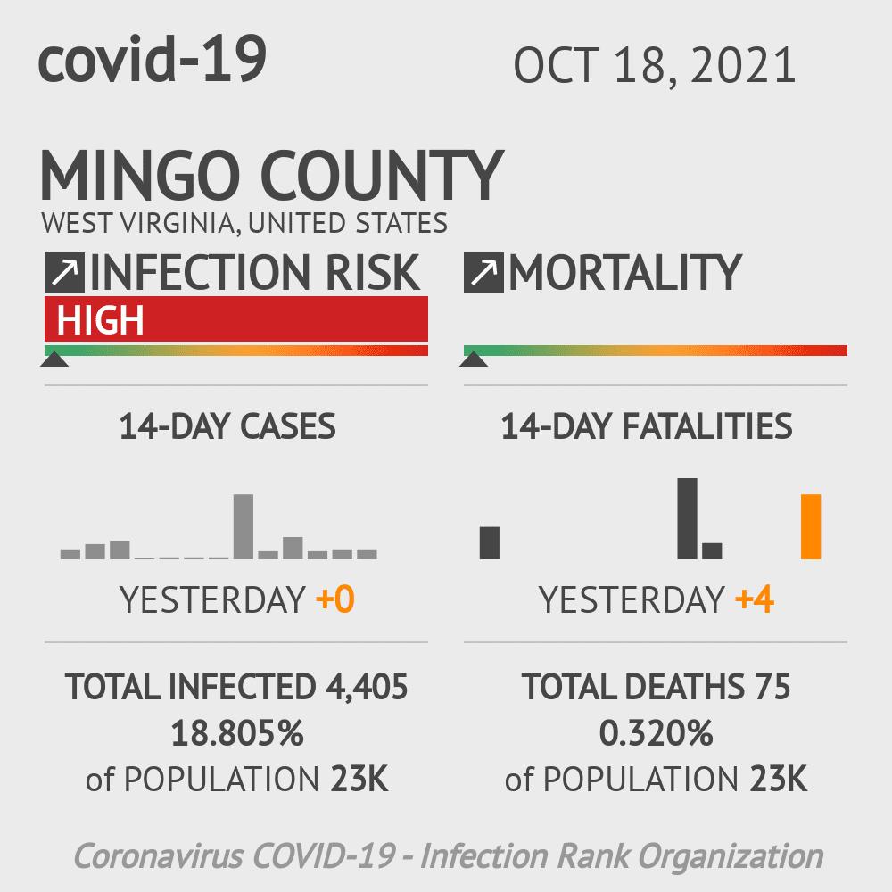 Mingo County Coronavirus Covid-19 Risk of Infection on July 24, 2021